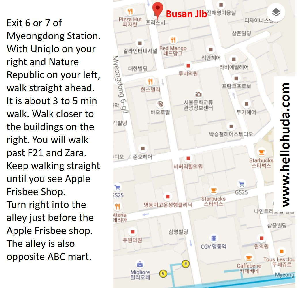 direction to busan jib in myeongdong