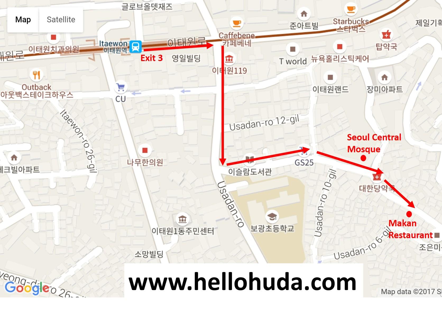 Direction to Makan Restaurant in Itaewon, Seoul (Korea)
