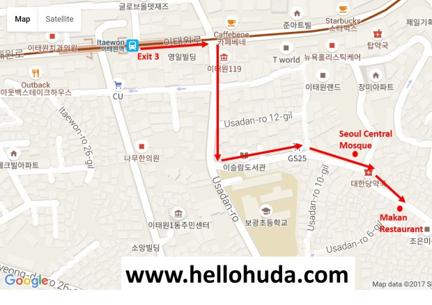 Direction to Makan Restaurant in Itaewon, Seoul (Korea)